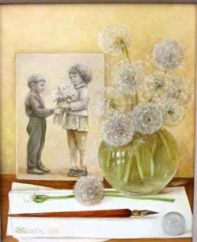 """""""Ти ми подари цветя"""" - картина на Елена Стоева от новия й проект."""