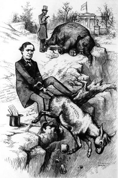 Карикатурата със слона и магарето край бездната от 1879 г. ИЛЮСТРАЦИИ: СИ ЕН ЕН