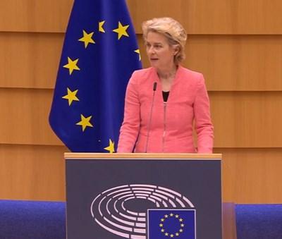 Председателката на ЕК Урсула фон дер Лайен КАДЪР: Фейсбук/ Европейски парламент в България