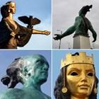 """Колаж с фамозните статуи на София и Бургас, наричани на майтап """"Жълтата гостенка"""" и """"Белия бродик""""."""