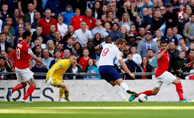 Хари Кейн (9) вкара гола срещу България в 24-ата минута. СНИМКА: РОЙТЕРС