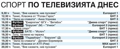 Спорт по тв днес: футбол от Бундеслигата и Беларус, тото, тенис класики