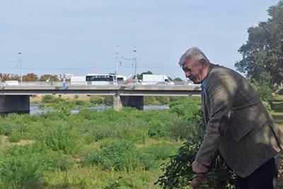 Кметът Здравко Димитров оглежда обраслата растителност в коритото.