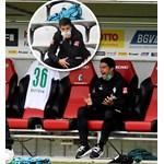 Илия Груев-баща реагира емоционално по време на мача във Фрайбург, а на малката снимка Илия Груев-син наблюдава двубоя от трибуната.