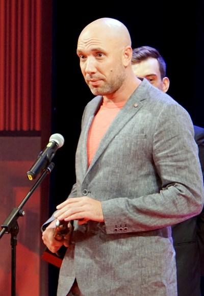 """Захари Бахаров на церемонията по връчването на наградите """"Аскеер"""" през 2018 г."""