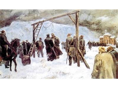 """Художникът график и илюстратор Борис Ангелушев (1902-1966) е представен с прочутата си картина """"Обесването на Левски""""."""