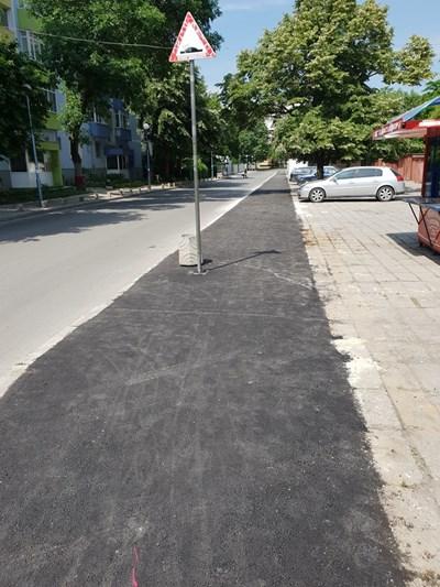 """Ремонтираният тротоар на ул. """"Босилек""""."""