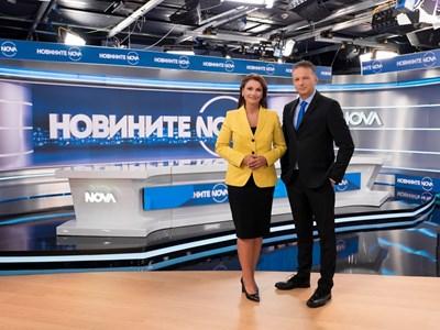 Ани Салич и Николай Дойнов в новинарското студио на Нова тв СНИМКА: Нова тв