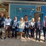Кандидат-кметът Андон Тодоров заедно с кандидатите за депутати от ГЕРБ-Благоевград, бившия министър на туризма Николина Ангелкова и евродепутата Андрей Новаков.