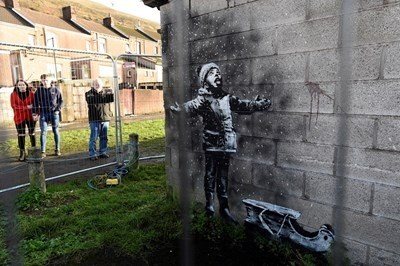 Улична творба на Банкси СНИМКА: Ройтерс