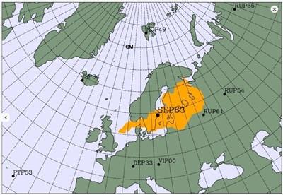 Шведската станция SEP63 регистрира леко повишаване на нивата на 3 изотопа над част от Европа - показана в жълто на картата.