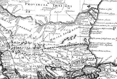 Тракийските земи в карта на Йохан Кристоф Харенберт (1741) (в десния край е изписан Марцианополис).