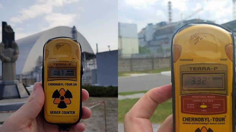 Нивото на радиация до 4-ти реактор в централата през 2019 г. (вляво) и преди 4 години.