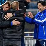 """Илия Груев се присъединява към общата радост в щаба на """"Арминия"""" след мача с """"Фрайбург""""."""