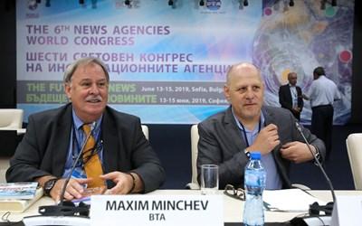 Ерик Уайнър (вдясно) заедно с генералния директор на БТА Максим Минчев.   СНИМКА: БТА
