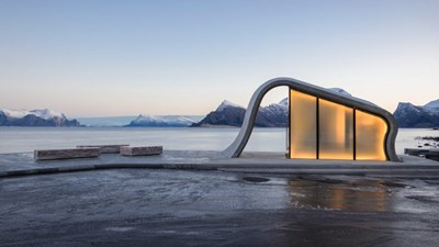 Тоалетната в зоната за отдих Ureddplassen в Норвегия Снимки dezeen.com и realty.tut.by