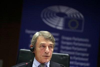 Председателят на Европейския парламент Давид Сасоли СНИМКА: Ройтерс