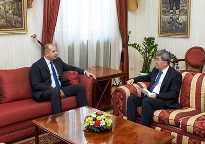 Румен Радев и Джан Хайджоу  СНИМКА: Прессекретариат на президента