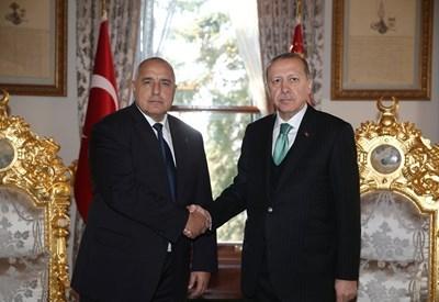 Българският премиер Бойко Борисов и турският президент Реджеп Ердоган СНИМКА: Ройтерс