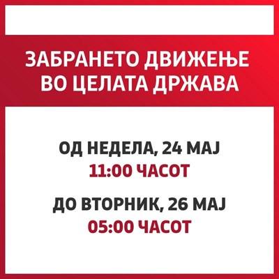Полицейски час в Северна Македония от 24 до 26 май