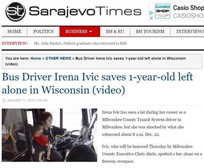 Докато шофира, Ирена Ивич забелязва съвсем малко дете да тича по надлеза на шосето. Факсимиле: Sarajevo Times