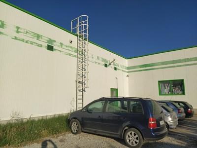 Алекс и Роман са използвали тази аварийна стълба, за да се качат на покрива на магазина.