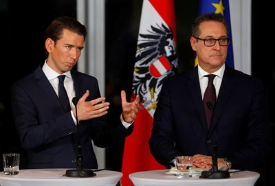 Пактът за съставяне на правителство, сключен между десницата и крайната десница в Австрия, изключва организиране на референдум за евентуално излизане от ЕС. Снимка РОЙТЕРС