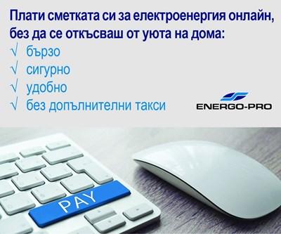 """Над 3500 плащания на сметки за месец от сайта на """"Енерго-Про"""""""