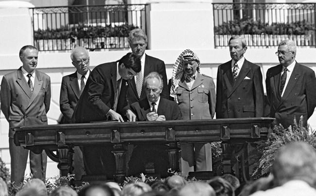 Подписване на споразуменията от Осло във Вашингтон, септември 1993 г. Ави Охайон/GPO