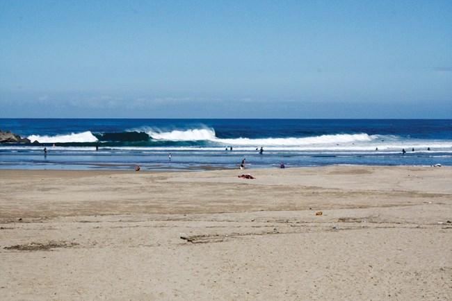 На плажа Суриола винаги има сърфисти.