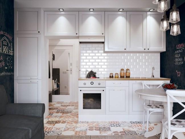 Кухнята е изцяло бяла, а пачуъркът изпъква ярко на нейния фон