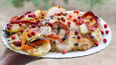 Пангасиус с червени боровинки