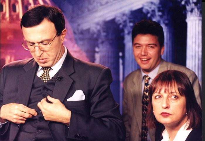 Президентът Петър Стоянов и Нери Терзиева в телевизионно студио на Си Ен Ен през 2000 г.