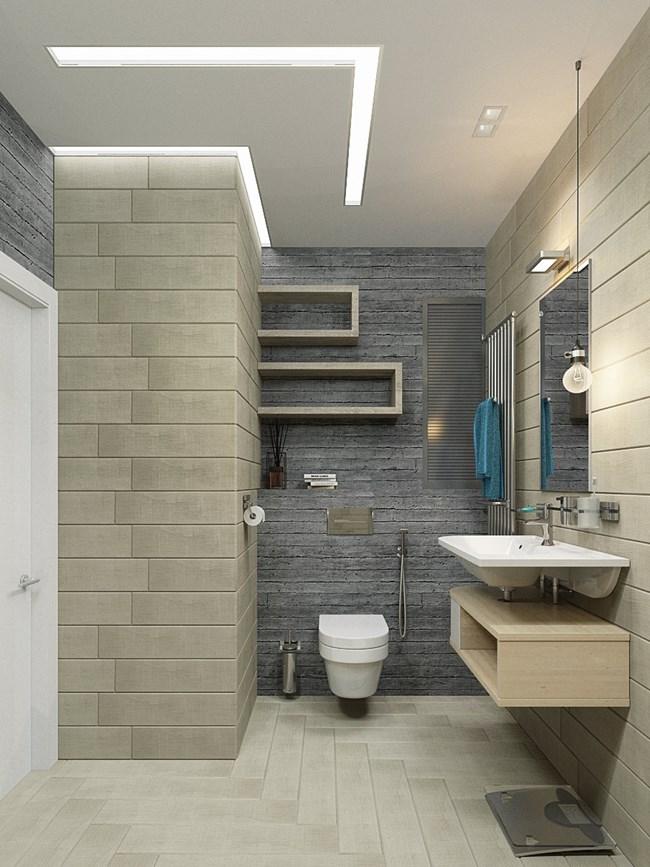 Банята е много стилна и с ясно изразени зони