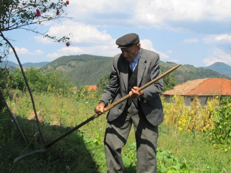 До миналата година дядо Миландин косял тревата в двора.