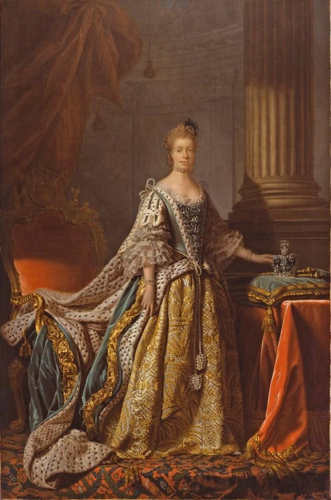 Портретът на кралица Шарлот, в който си личат следите от смесена раса.