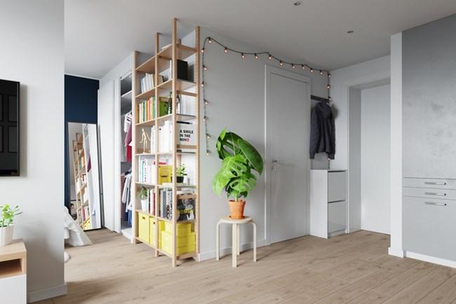 В спалнята има място за гардероб и библиотека