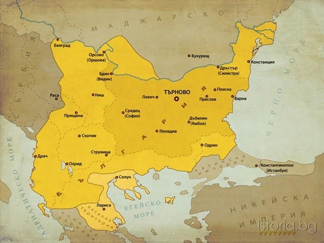 Територията на България по време на управлението на Иван Асен II.