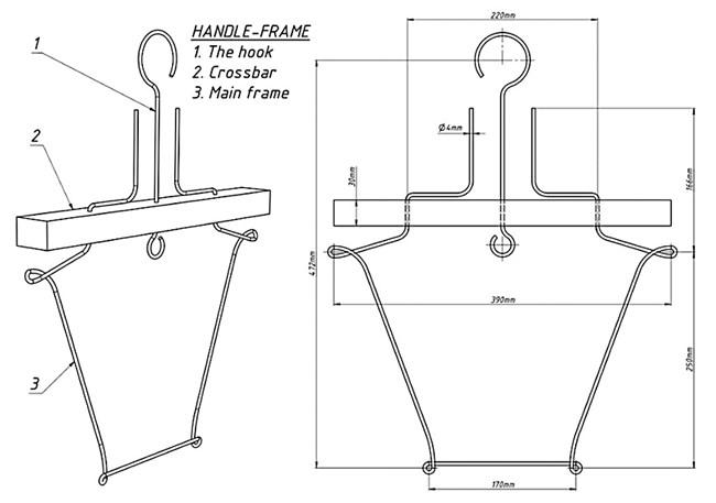 Окачващата рамка: 1. Куката; 2. Напречна греда; 3. Основната рамка.