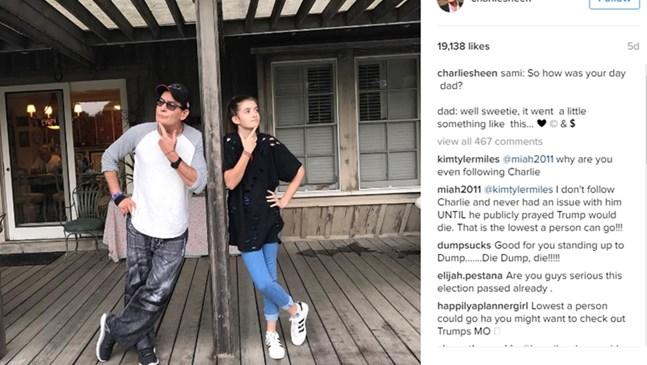 Чарли Шийн показа 12-годишната си дъщеря