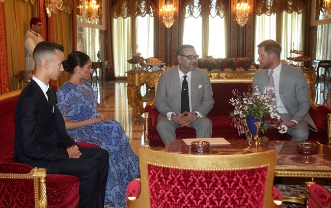 Херцозите на Съсекс с мароканския крал и неговия син
