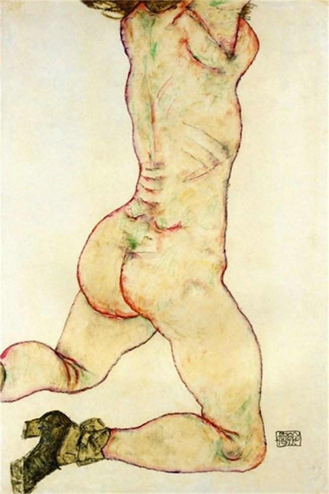 """Егон Шиле, """"Гола жена на колене, гледана отзад"""", 1915 г."""