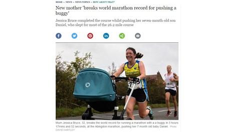 Майка с количка влиза в Гинес с нов световен рекорд в маратона (видео)