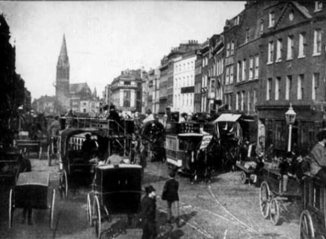 Лондонският квартал Уайтчапъл, в който Джак Изкормвача извършва убийствата си.