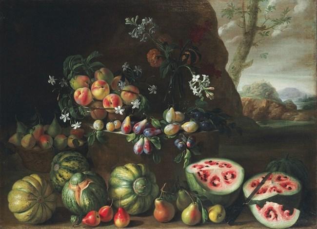 Картина от XVII век на италианския художник Джовани Станчи. Долу вдясно се вижда как е изглеждала  динята тогава.