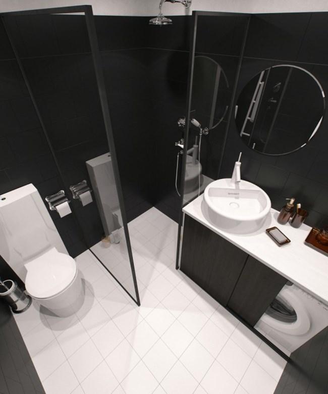 Банята също е в черно-бяло