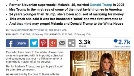 Следващата първа дама на САЩ може да е словенски супермодел