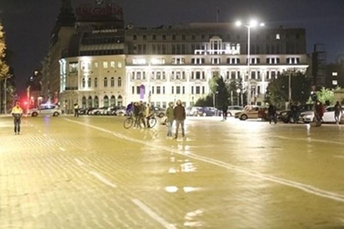 Кадър от 93-я ден на протести в София СНИМКА: Николай Литов