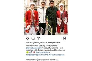 Беретини с Григор Димитров и с момчета, облечени като Моцарт и Бетховен във Виена през октомври 2019 г.