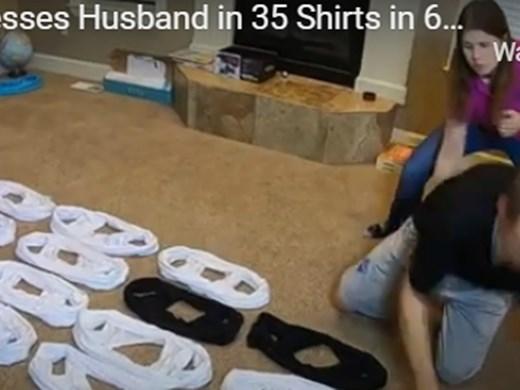 Нов рекорд: Мъж облече 35 тениски за една минута (Видео)